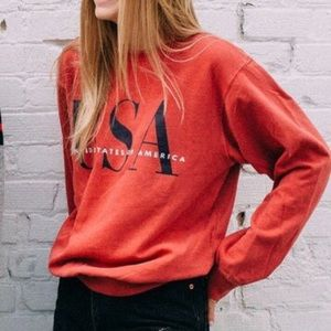 RARE BRANDY MELVILLE- Red USA Sweatshirt/Crewneck